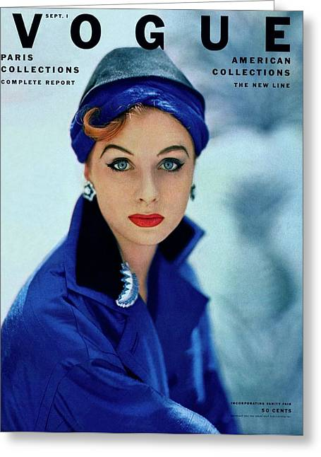 Vogue Cover Of Suzy Parker Greeting Card by Roger Prigent