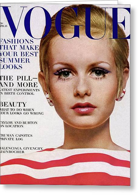 Vogue Cover Of Twiggy Greeting Card by Bert Stern