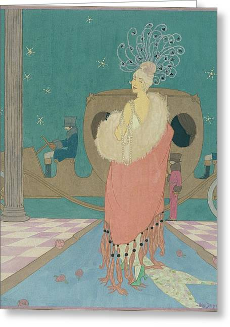 Vogue Illustration Of A Woman In A Pink Cape Greeting Card by Helen Dryden