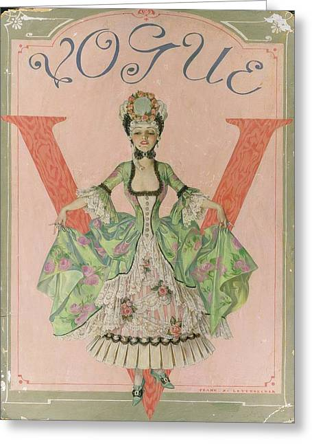 Vogue Illustration Of Woman Dressed In 18th Greeting Card by Frank X. Leyendecker