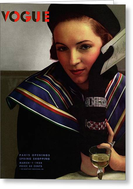 Vogue Magazine Cover Featuring A Model Wearing Greeting Card by Edward Steichen