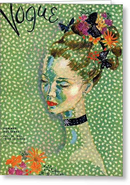Vogue Magazine Cover Featuring A Woman Greeting Card by Cecil Beaton