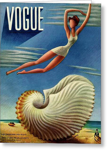 Vogue Magazine Cover Featuring A Woman Greeting Card by Miguel Covarrubias