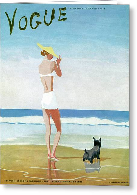 Vogue Magazine Cover Featuring A Woman On A Beach Greeting Card by Eduardo Garcia Benito