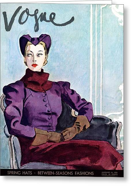 Vogue Magazine Cover Featuring A Woman Greeting Card by Pierre Mourgue