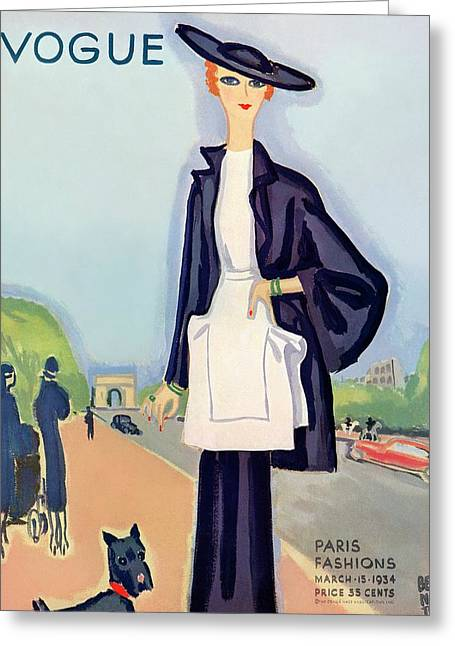 Vogue Magazine Cover Featuring A Woman Walking Greeting Card by Eduardo Garcia Benito