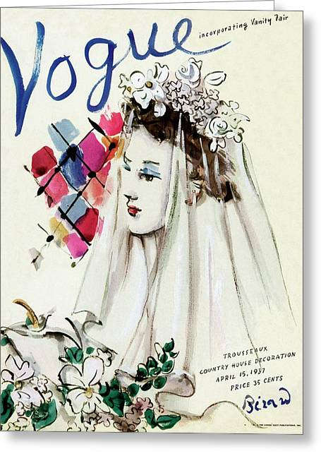Vogue Magazine Cover Featuring An Illustration Greeting Card by Christian Berard
