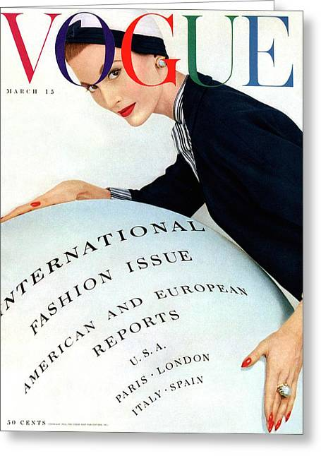 Vogue Magazine Cover Featuring Model Mary Jane Greeting Card by Erwin Blumenfeld