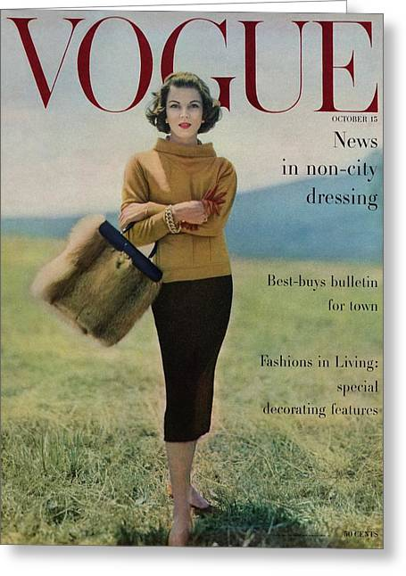 Vogue Magazine Cover Featuring Model Va Taylor Greeting Card by Karen Radkai