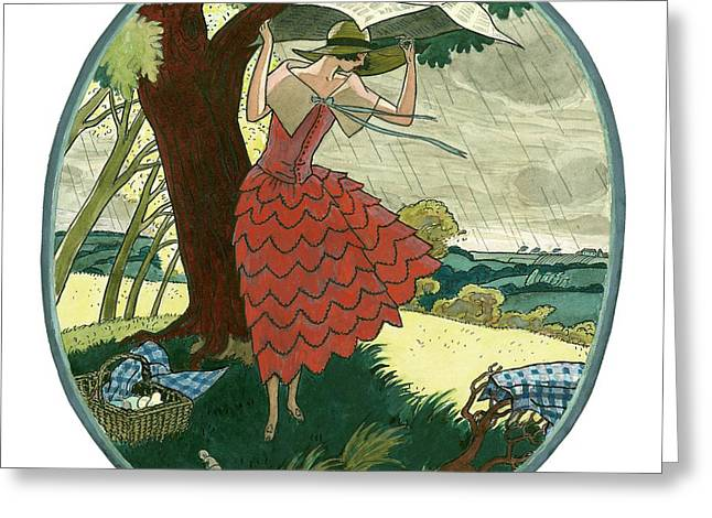 Vogue Magazine Illustration Of A Woman Protecting Greeting Card by Leslie Saalburg