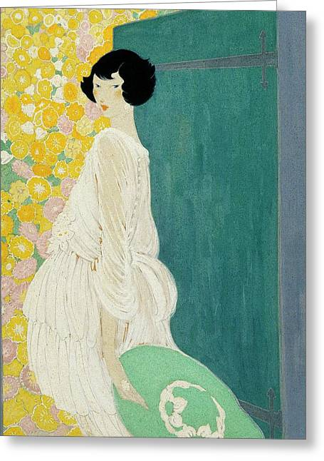Vogue Magazine Illustration Of A Woman Standing Greeting Card by Helen Dryden