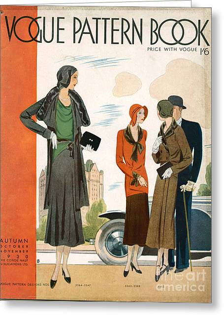 Vogue Pattern Book Cover 1930 1930s Uk Greeting Card by The Advertising Archives