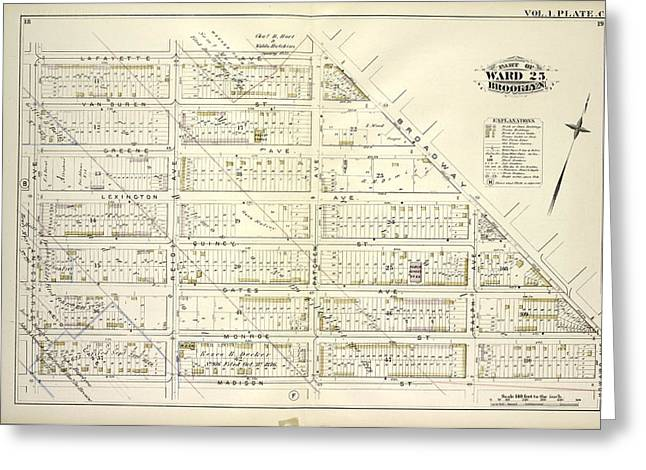 Vol. 1. Plate, C. Map Bounded By Lafayette Ave., Broadway Greeting Card