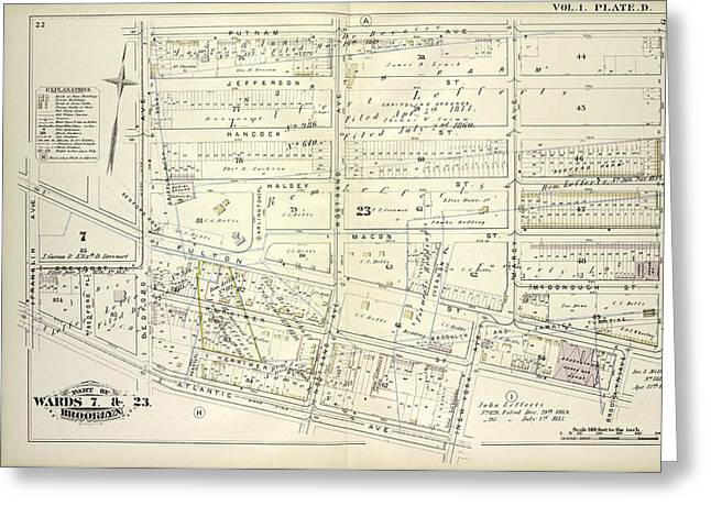 Vol. 1. Plate, D. Map Bounded By Putnam Ave., Tompkins Greeting Card by Litz Collection