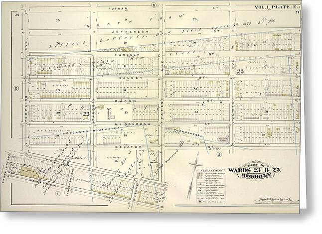 Vol. 1. Plate, E. Map Bounded By Putnam Ave., Stuyvesant Greeting Card by Litz Collection