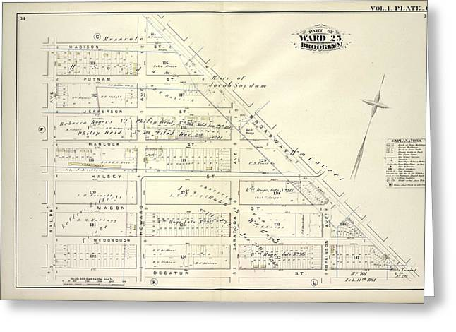 Vol. 1. Plate, G. Map Bounded By Madison St., Broadway Greeting Card by Litz Collection