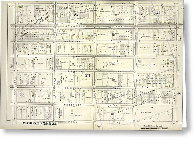 Vol. 1. Plate, I. Map Bound By Herkimer St., Troy Ave Greeting Card