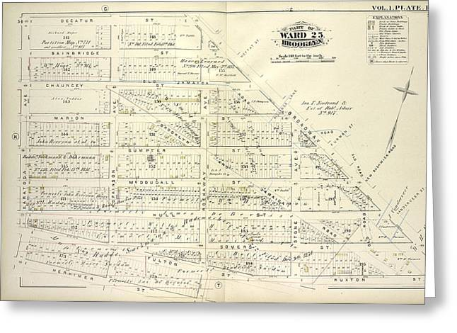 Vol. 1. Plate, L. Map Bound By Decatur St., Broadway Greeting Card