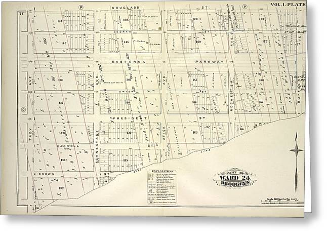 Vol. 1. Plate, Q. Map Bound By Douglass St., Buffalo Ave Greeting Card by Litz Collection