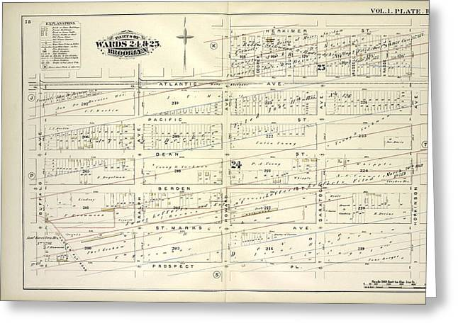 Vol. 1. Plate, R. Map Bound By Atlantic Ave., Herkimer St Greeting Card by Litz Collection