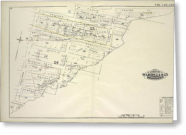 Vol. 1. Plate, T. Map Bound By Herkimer St., Rockaway Ave Greeting Card by Litz Collection