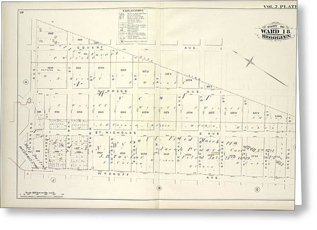 Vol. 2. Plate, K. Map Bound By City Line, Greene St Greeting Card