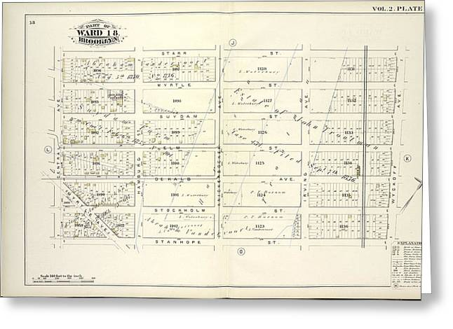 Vol. 2. Plate, M. Map Bound By Starr St., Wyckoff Ave Greeting Card