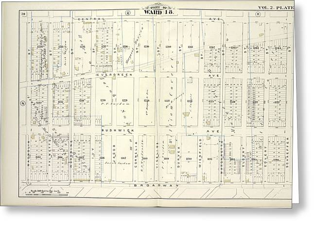 Vol. 2. Plate, P. Map Bound By Central Ave., Schaeffer St Greeting Card