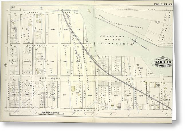 Vol. 2. Plate, S. Map Bound By Central Ave., Cemetery Greeting Card