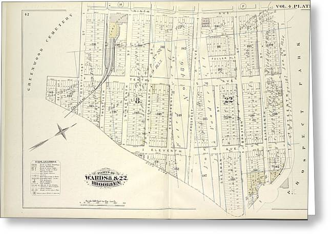 Vol. 4. Plate, I. Map Bound By Ninth Ave., Prospect Park Greeting Card by Litz Collection