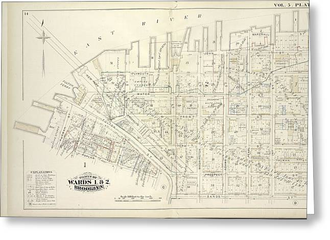 Vol. 5. Plate, B. Map Bound By East River, Bridge St Greeting Card