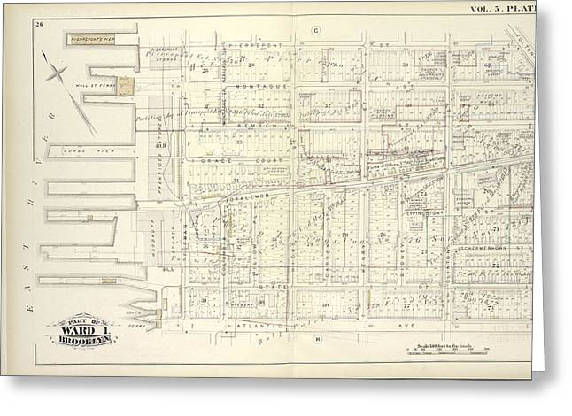 Vol. 5. Plate, E. Map Bound By Pierrepont St., Fulton St Greeting Card by Litz Collection