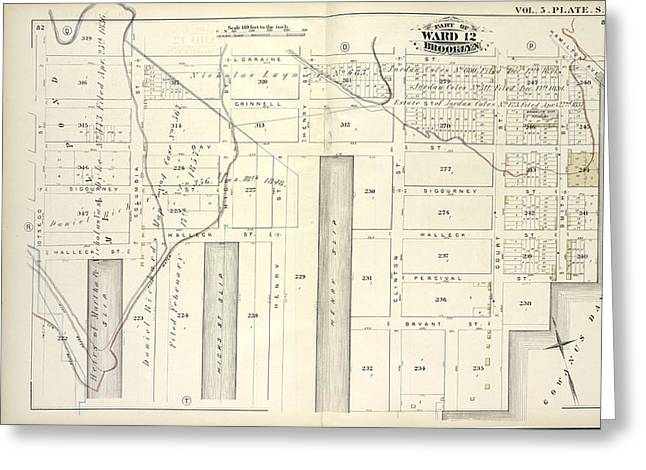 Vol. 5. Plate, S. Map Bound By Lorraine St., Hamilton Ave Greeting Card by Litz Collection