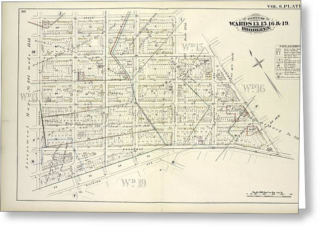 Vol. 6. Plate, O. Map Bound By Grand St., Eleventh St Greeting Card