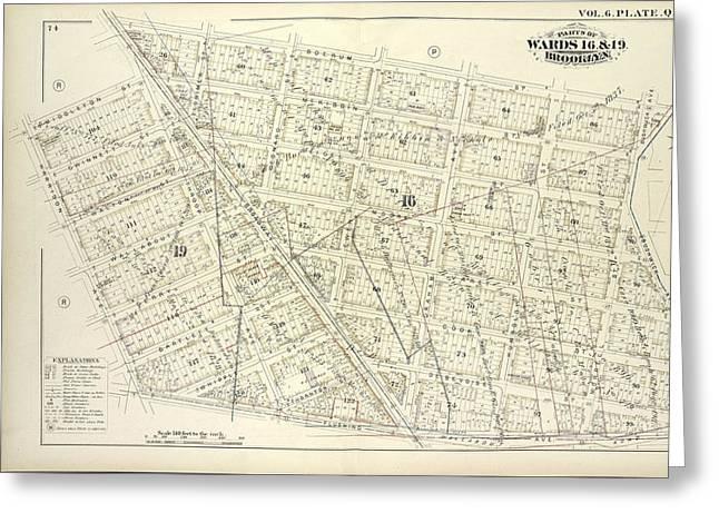 Vol. 6. Plate, Q. Map Bound By Boerum St., Bushwick Ave Greeting Card