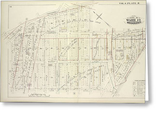 Vol. 6. Plate, R. Map Bound By Broadway, Middleton St Greeting Card
