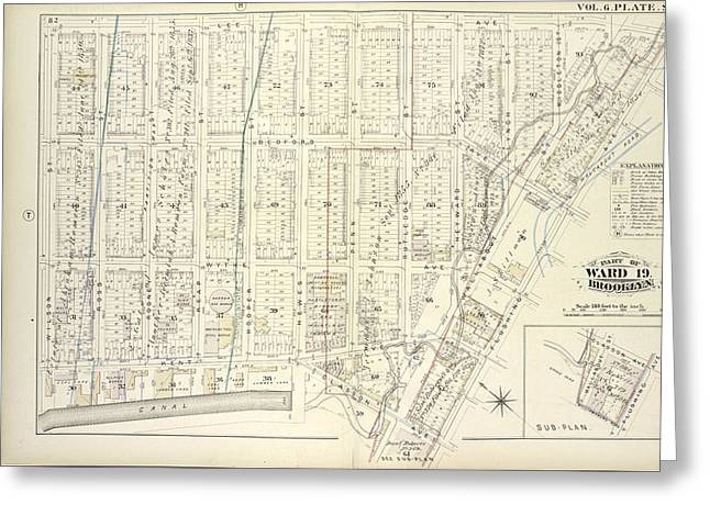 Vol. 6. Plate, S. Map Bound By Lee Ave., Flushing Ave Greeting Card