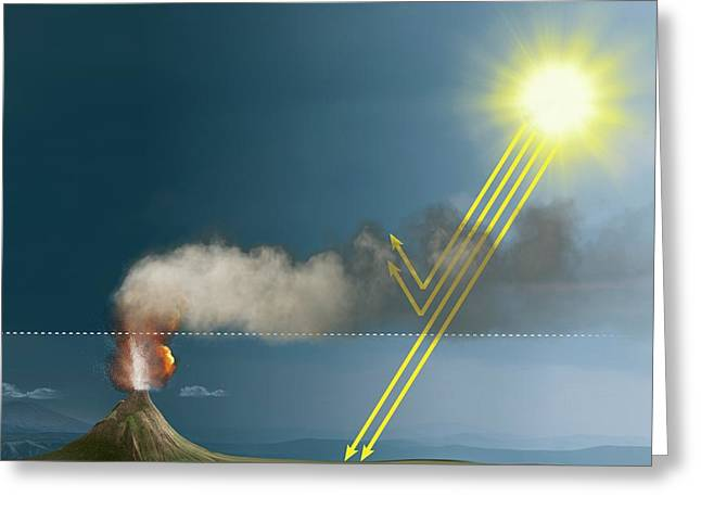 Volcanic Eruption Blocking The Sun Greeting Card by Claus Lunau