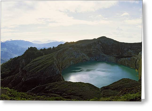 Volcanic Lake On A Mountain, Mt Greeting Card