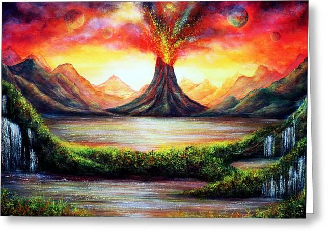 Volcano Greeting Card by Ann Marie Bone