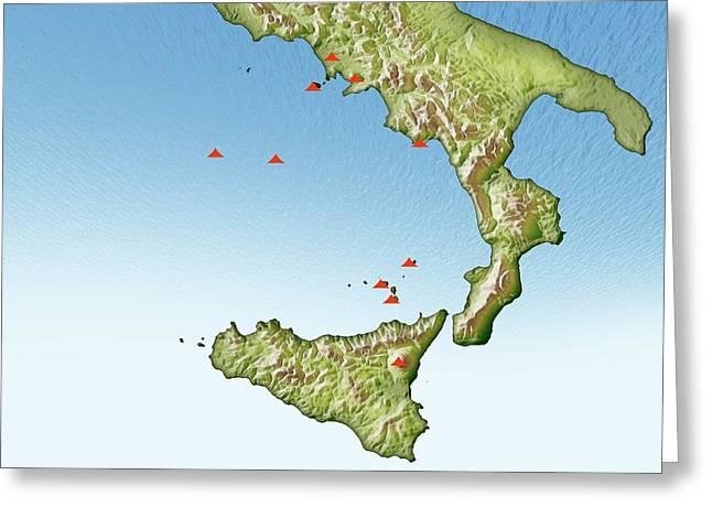 Volcanoes In Italy Greeting Card by Mikkel Juul Jensen