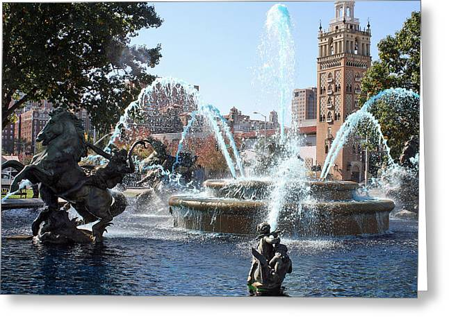 Jc Nichols Memorial Fountain In Blue Greeting Card by Ellen Tully