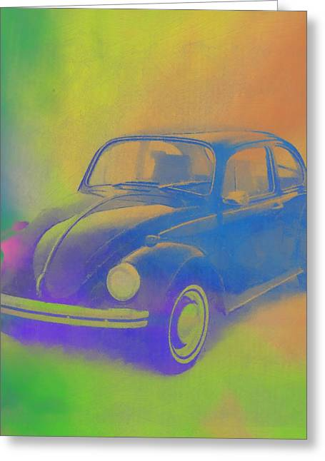 Volkswagen Beetle Pop Art Greeting Card