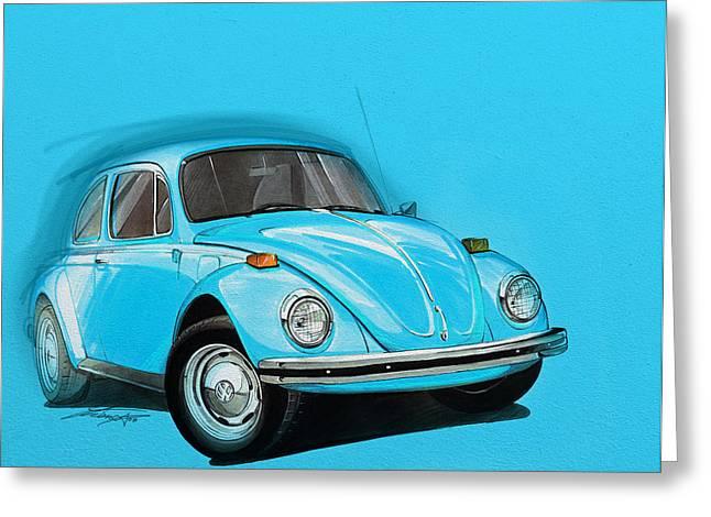 Volkswagen Beetle Vw Blue Greeting Card by Etienne Carignan
