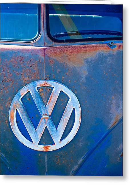 Volkswagen Vw Bus Emblem Greeting Card by Jill Reger