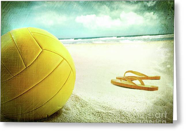 Volleyball In The Sand With Sandals Greeting Card by Sandra Cunningham
