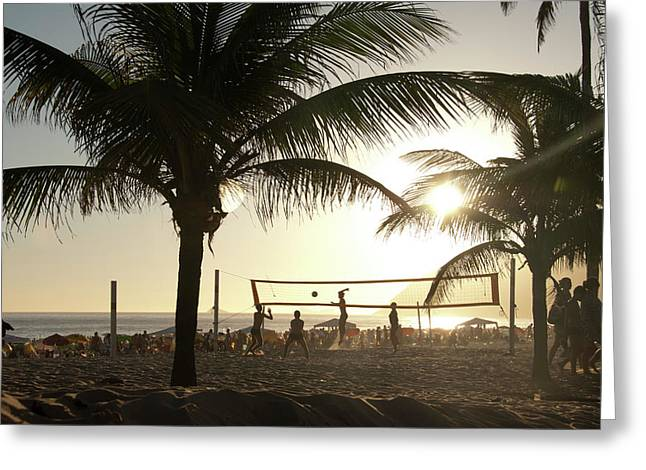 Volleyball, Ipanema Beach, Rio De Greeting Card by Kevin Berne