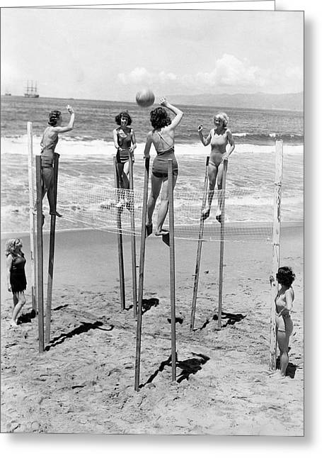 Volleyball On Stilts Greeting Card
