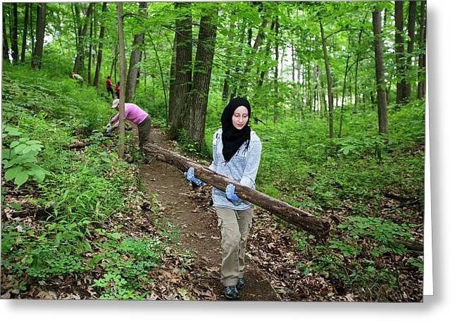 Volunteers Clearing A Woodland Trail Greeting Card by Jim West