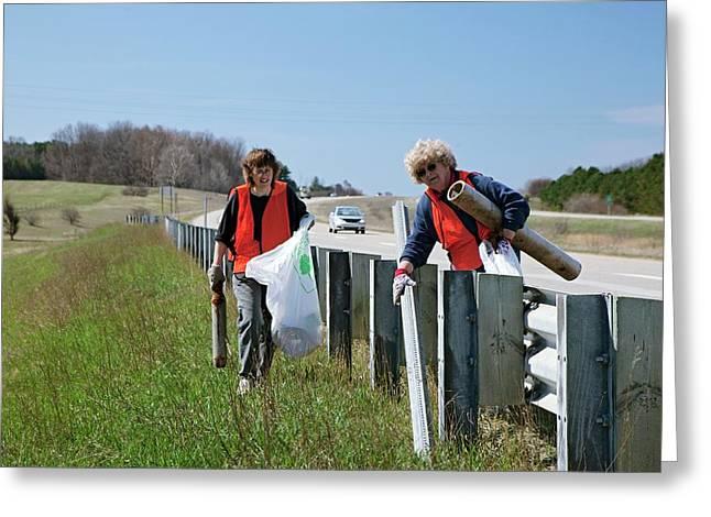 Volunteers Clearing Roadside Litter Greeting Card